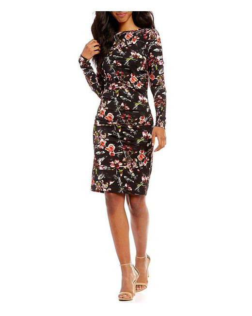 Nicole Miller Artelier | Black Christina Printed Long Sleeve Sheath Dress | Lyst