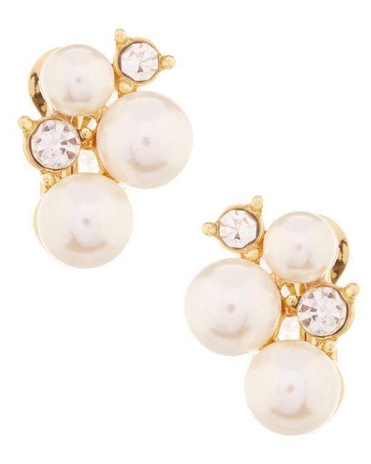 Anne Klein | Metallic Faux-pearl Cluster Clip-on Earrings | Lyst