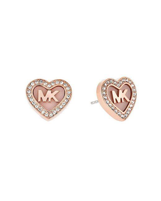 Michael Kors | Metallic Valentine ́s Day Pavé Heart Stud Earrings | Lyst