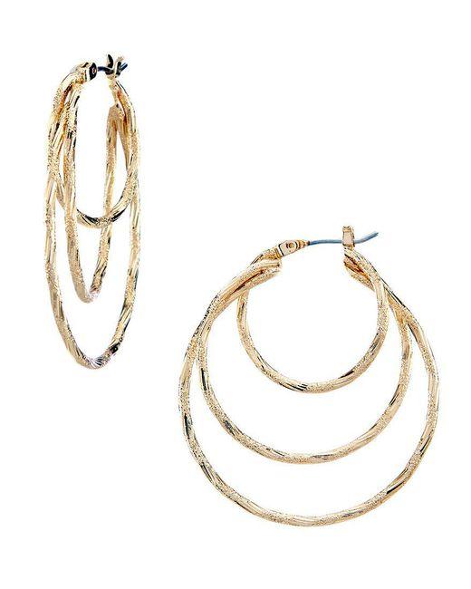 Anne Klein   Metallic Triple-ring Hoop Earrings   Lyst