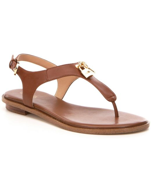 0612f3e19e90 MICHAEL Michael Kors - Brown Suki Leather   Charms Thong Sandals - Lyst ...