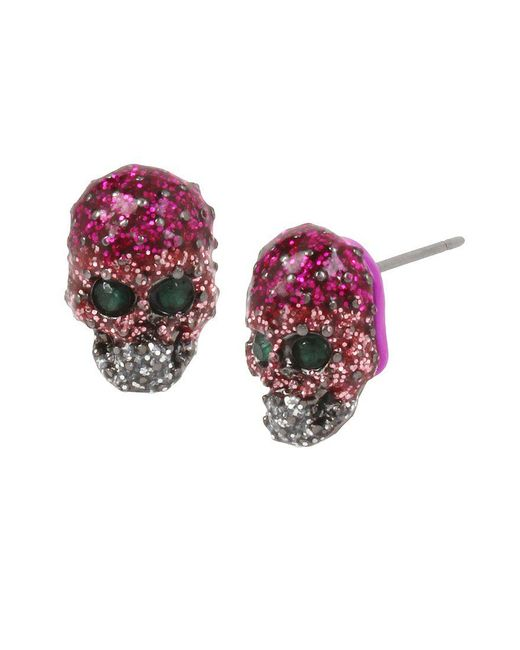 Betsey Johnson | Multicolor Glitter Skull Stud Earrings | Lyst