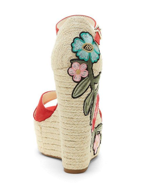 Apella Suede Leather Embroidered Floral Patch Espadrille Wedge Sandals 1u0TnZR