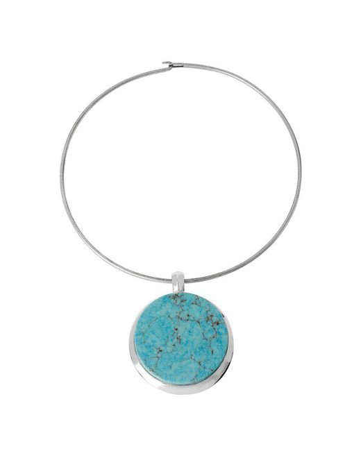 Robert Lee Morris | Blue Round Turquoise Pendant Wire Choker Necklace | Lyst