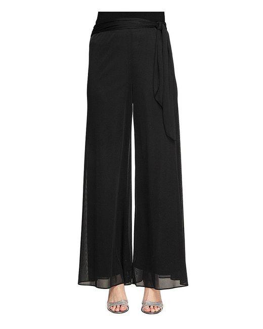 Alex Evenings - Black Side-sash Mesh Dress Pants - Lyst