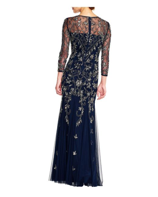 8915dcb5c75 ... Adrianna Papell - Blue Beaded 3 4 Sleeve Gown - Lyst ...