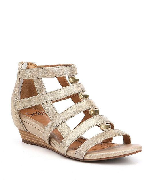 Söfft   Black Rio Leather Caged Metal Detail Gladiator Wedges   Lyst