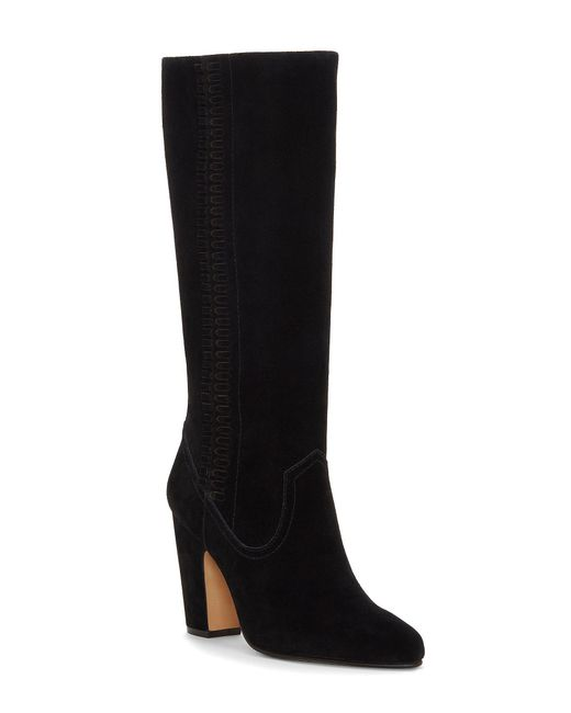 Vince Camuto - Black Coranna Tall Suede Block Heel Boots - Lyst