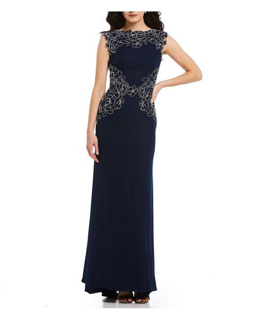 Tadashi Shoji - Blue Lace Applique Gown - Lyst