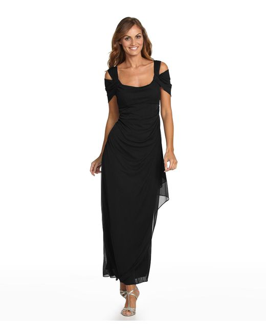 Alex evenings Petite Exposed-shoulder Mesh Gown in Black ...