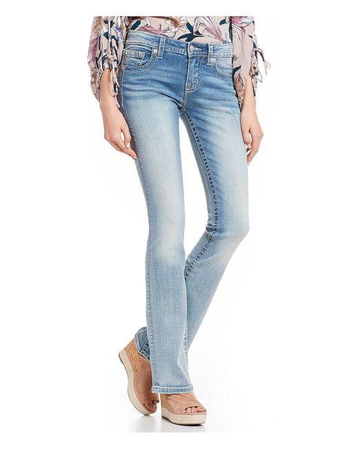 7d6f6ac8b99 Miss Me - Blue Embellished Wing Flap Pocket Bootcut Jeans - Lyst ...