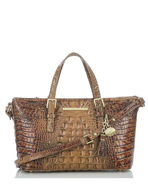Brahmin | Brown Toasted Almond Collection Mini Asher Croco-embossed Satchel | Lyst
