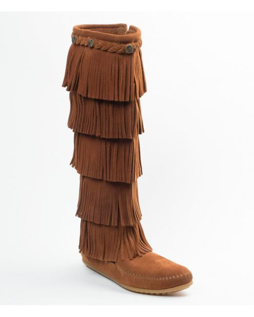 minnetonka 5 layer fringe boots in brown lyst