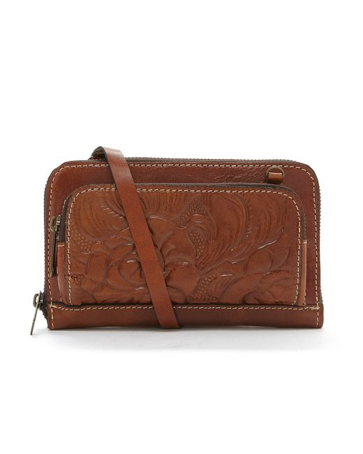 Patricia Nash Andria Floral Embossed Cross-body Bag In Brown - Save 13% | Lyst