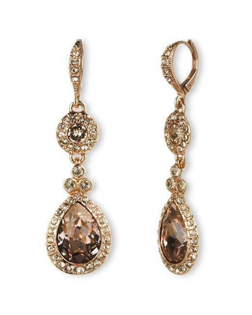 Givenchy | Metallic Rose Goldtone And Swarovski Crystal Teardrop Earrings | Lyst