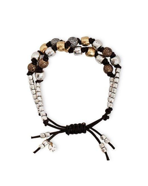Lucky Brand | Metallic Two Tone Beaded Leather Bracelet | Lyst