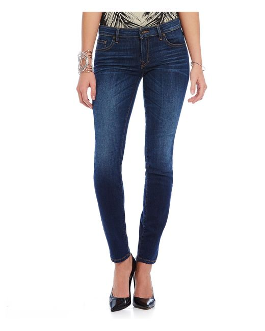 Guess | Blue Mid-rise Stretch Denim Power Curvy Skinny Jeans | Lyst