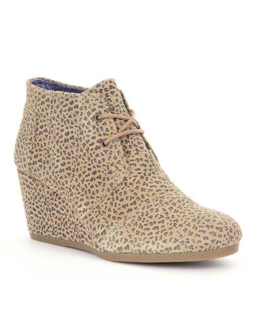 TOMS | Brown Suede Cheetah-print Wedge | Lyst