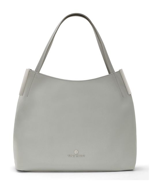 Vince Camuto Tina Pebble Leather Tote In Gray Lyst