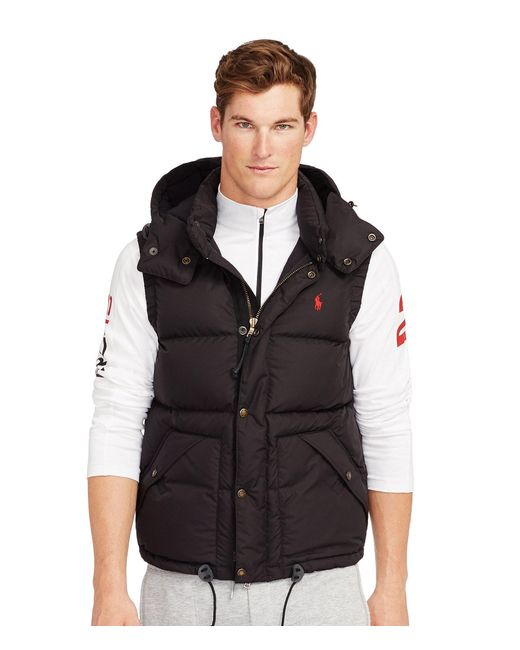 Polo Ralph Lauren | Black Elmwood Microfiber Down Vest for Men | Lyst