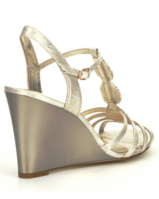 papell kristen jeweled metallic wedge sandals in