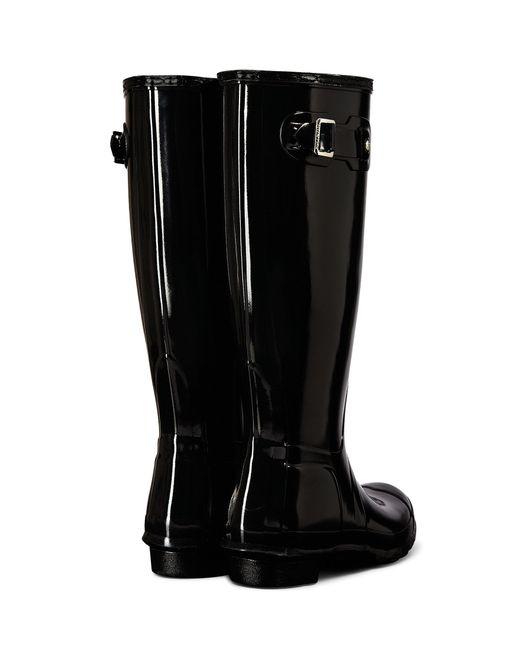 Hunter Women ́s Original Tall Gloss Rain Boots in Black | Lyst