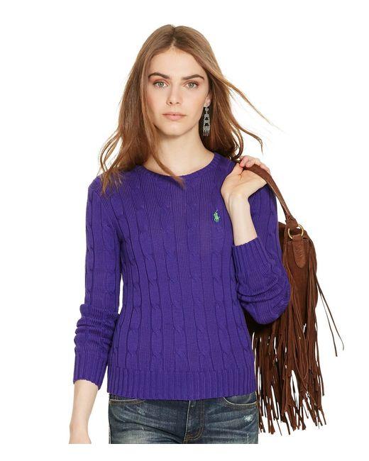 Polo Ralph Lauren | Purple Wool Blend Crewneck Sweater | Lyst