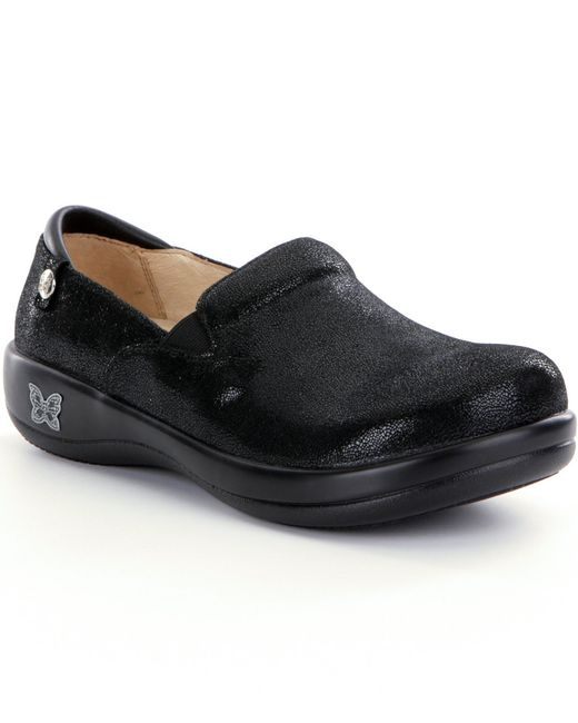 Alegria | Black Joleen Tooled Pattern Stain-resistant Leather Slip-ons | Lyst