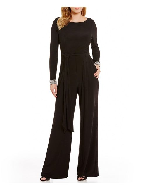 Vince Camuto Beaded Cuff Long Sleeve Jumpsuit In Black Lyst