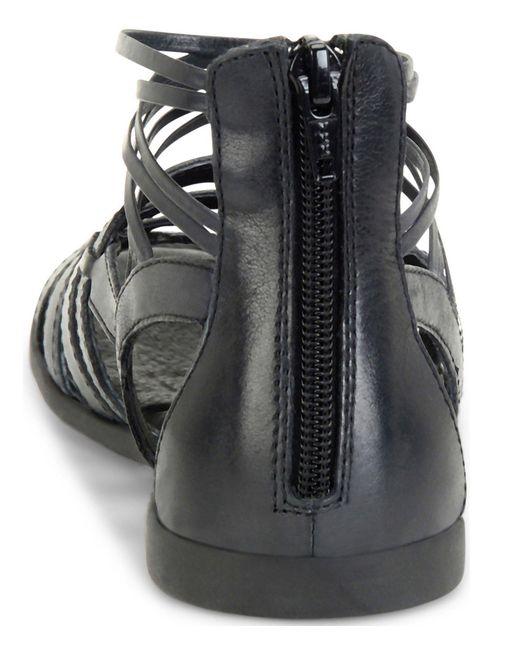 Born Angeles Leather Caged Banded Back Zip Flat Gladiator