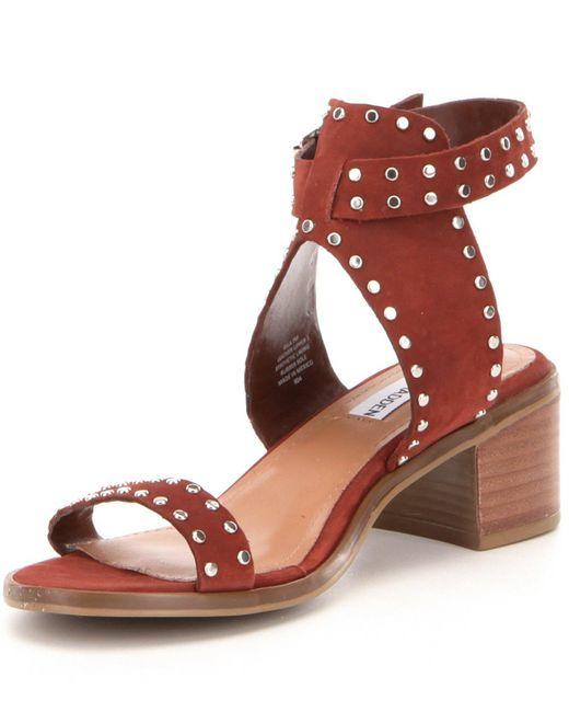 Steve madden Gila Nubuck Studded Ankle Strap Banded Sandals | Lyst