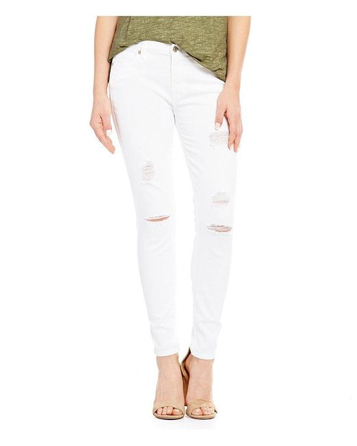 7 For All Mankind | White The Ankle Skinny Distressed Jeans | Lyst