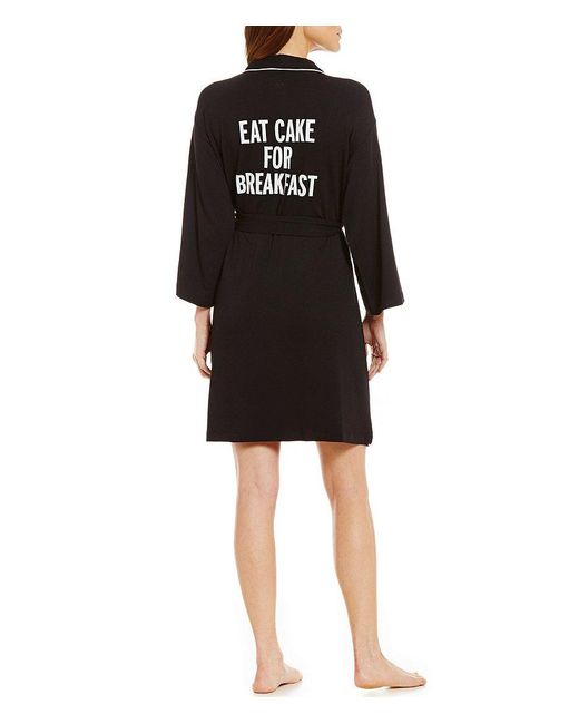 Kate Spade | Black Eat Cake For Breakfast French Terry Wrap Robe | Lyst