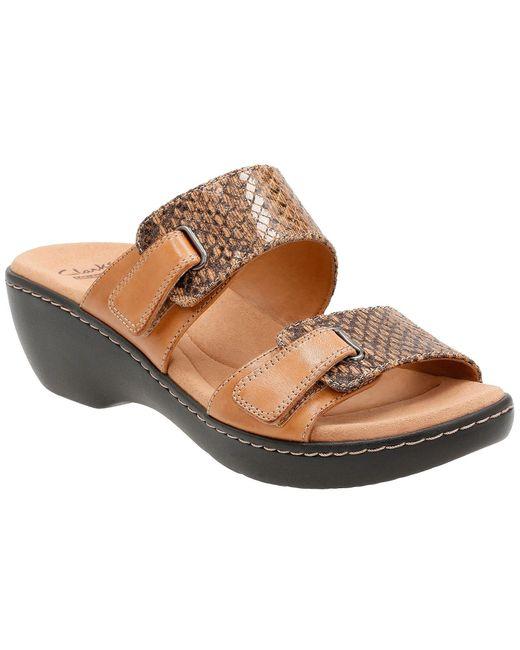 Clarks   Brown Delana Fenela Slide-on Sandals   Lyst