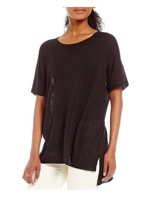 Eileen Fisher | Black Round Neck Short Sleeve Tunic | Lyst