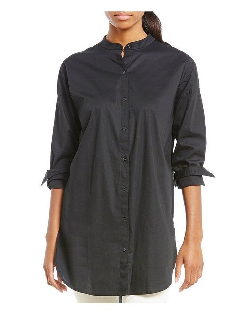 Eileen Fisher | Black Mandarin Collar Long Shirt | Lyst