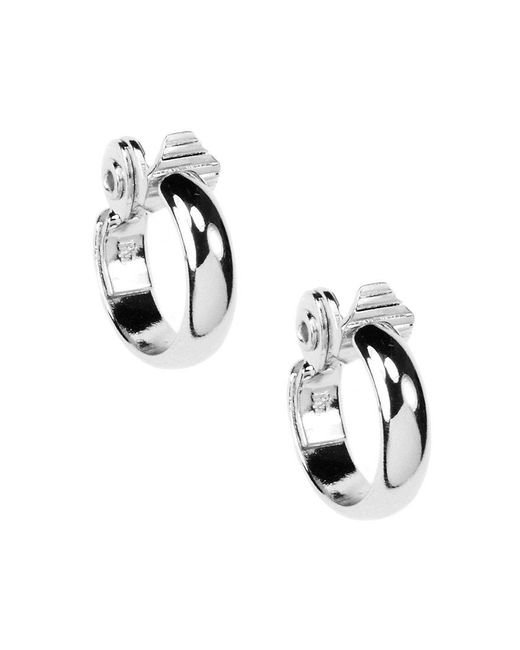 Anne Klein - Metallic Small Silver Clip Hoop Earrings - Lyst