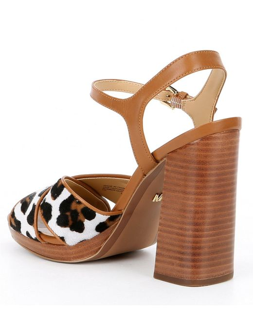 da816f28be13 ... MICHAEL Michael Kors - Brown Alexia Leopard Print Platform Block Heel  Sandals - Lyst