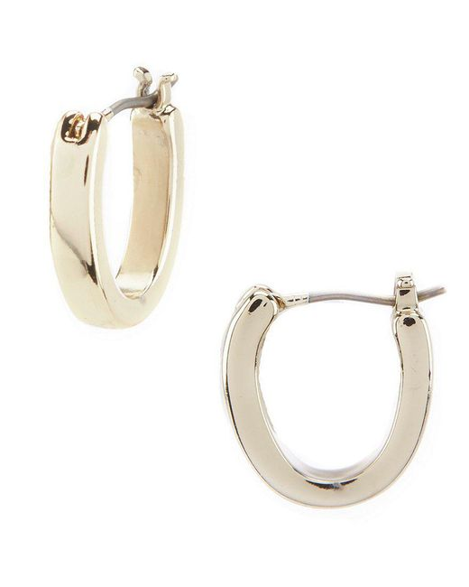 Lauren by Ralph Lauren - Metallic Gold Small Oval Hoop Earrings - Lyst