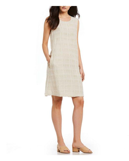 Eileen Fisher - Natural Petite Size Jewel Neck Shift Dress - Lyst