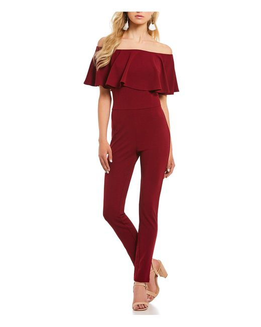 Sugarlips - Red Flounce Off-the-shoulder Jumpsuit - Lyst