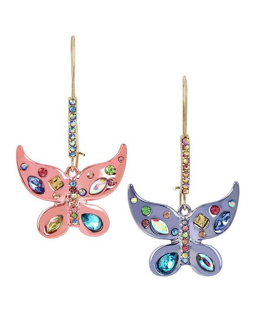 Betsey Johnson - Multicolor Colorful Butterfly Drop Statement Earrings - Lyst
