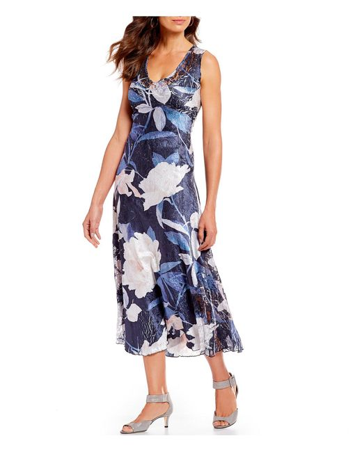 Komarov - Blue Floral Print V-neck Midi Dress - Lyst