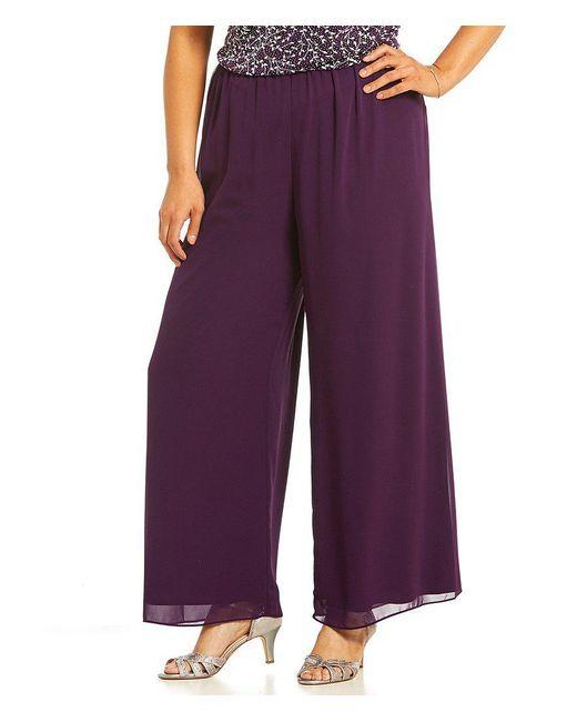 Alex Evenings | Purple Plus Wide-leg Chiffon Pants | Lyst