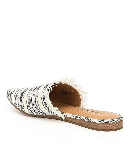 Lucky Brand Bapsee Linen Striped Mules 387i9r