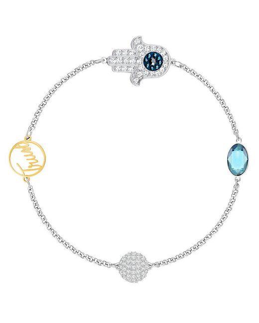 Swarovski | Metallic Remix Collection Hamsa Line Bracelet | Lyst