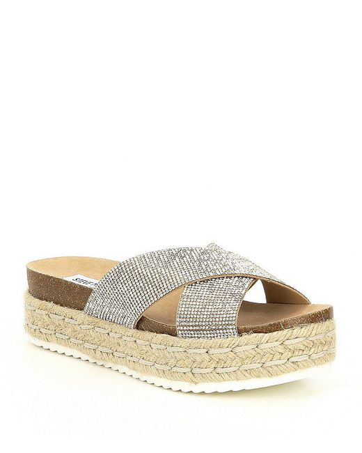 Steve Madden - Metallic Arran Rhinestone Jeweled Platform Wedge Sandals - Lyst