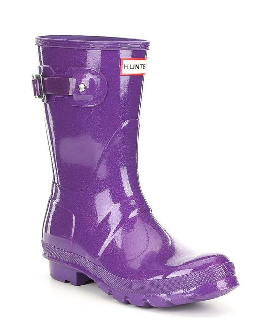 Hunter - Purple Women's Original Starcloud Short Buckle Detail Rain Boots - Lyst