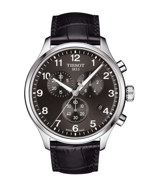 Tissot - Chrono Xl Classic Black Leather Watch for Men - Lyst