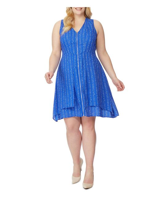 REBEL WILSON X ANGELS - Blue Plus Size Zip Front Fit And Flare Dress - Lyst